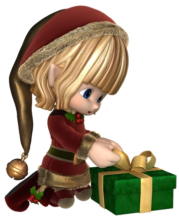 fur hood: Cute toon Christmas elf in a red suit with gold fur and holly and hat with bell, wrapping a present, 3d digitally rendered illustration Stock Photo