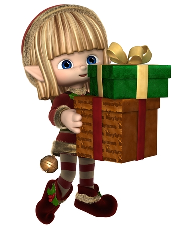 christmas elf: Cute toon Christmas elf in a red suit with gold fur and holly and hat with bell, carrying a pile of presents, 3d digitally rendered illustration