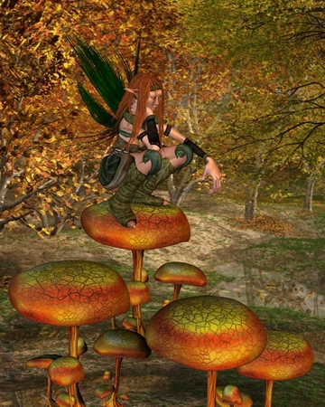 sprite: Fantasy illustration of a female Wood Sprite squatting on a toadstool in an Autumn forest, 3d digitally rendered illustration