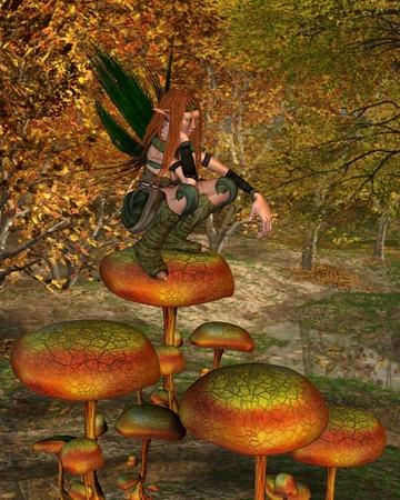 en cuclillas: Ilustración de la fantasía de una mujer Sprite de madera en cuclillas en una seta en un bosque de otoño, 3d rindió la ilustración digital