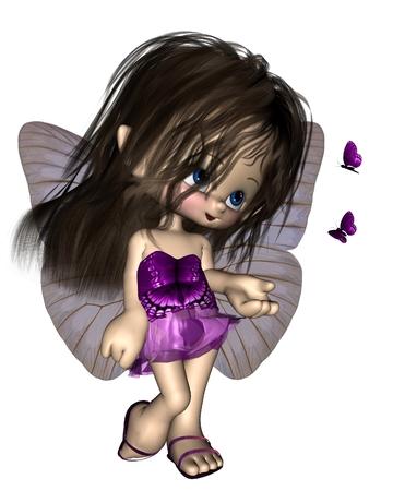 donna farfalla: Carino Fata toon farfalla con abito viola e le ali lilla, reso illustrazione digitale 3D
