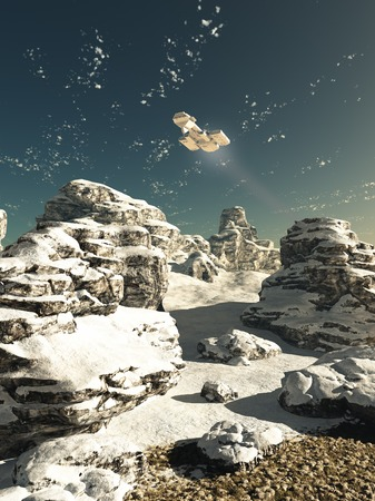 planet futuristic: Science fiction illustration of a spaceship flying over a snowy winter landscape on a deserted planet in bright sunshine, 3d digitally rendered illustration
