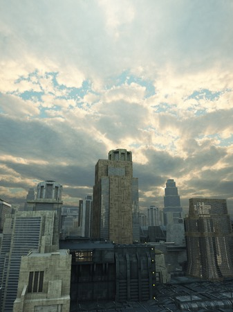 towerblock: Science fiction illustration of a future city with storm clouds breaking up overhead and rays of sunshine, 3d digitally rendered illustration
