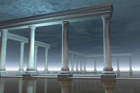 3d temple: Fantasy illustration of a partly submerged ancient Greek temple in a moonlit scene, 3d digitally rendered illustration Stock Photo