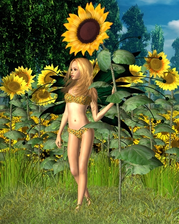 bikini top: Fantasy illustration of a sunflower fairy with giant summer sunflower and summer background, 3d digitally rendered illustration Stock Photo