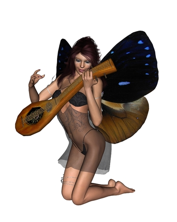 fey: Fantasy illustration of a beautiful fairy playing her lute, 3d digitally rendered illustration