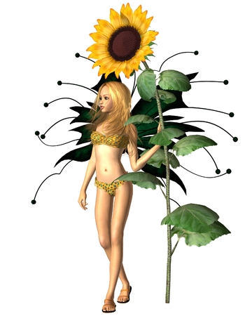 bikini top: Fantasy illustration of a sunflower fairy with giant summer sunflower, 3d digitally rendered illustration Stock Photo