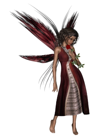 dark haired: Fantasy illustration of a dark haired fairy holding a red rose, 3d digitally rendered illustration