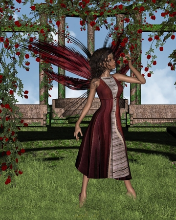 dark haired: Fantasy illustration of a dark haired fairy standing in a pergola covered by dark red roses, 3d digitally rendered illustration