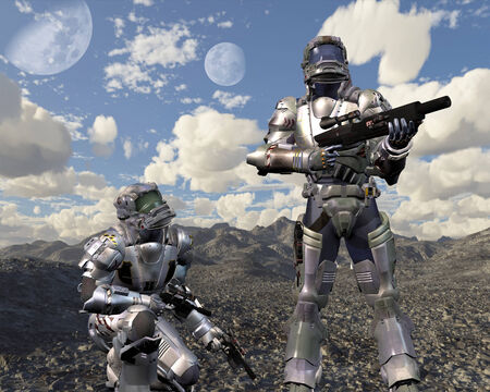 deserted: Science fiction illustration of two armoured space marines exploring a deserted planet, 3d digitally rendered illustration Stock Photo