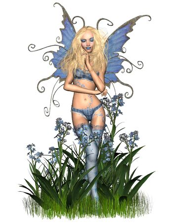 fey: Fantasy illustration of a forget-me-not flower fairy, 3d digitally rendered illustration Stock Photo