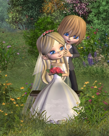 toon: Cute toon wedding couple in a garden background, 3d digitally rendered illustration