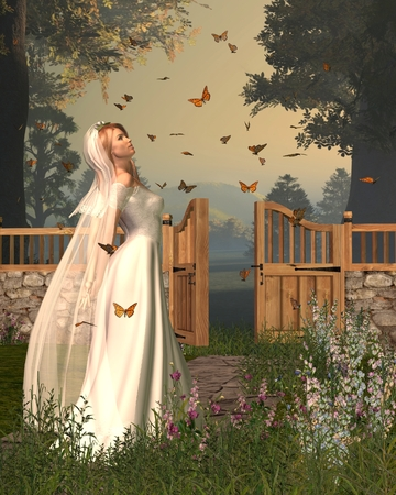 swarm: Illustration of a blonde woman in bridal dress standing in a flower garden surrounded by monarch butterflies, 3d digitally rendered illustration