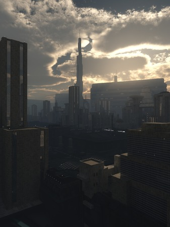 towerblock: Science fiction illustration of the the streets of a future city in early evening light, 3d digitally rendered illustration