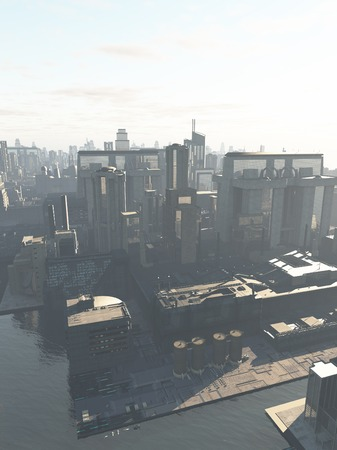 waterway: Science fiction illustration of the canal district of a future city in early morning mist, copy space in sky, 3d digitally rendered illustration
