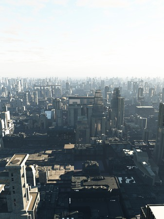 Science fiction illustration of a future city in early morning mist, copy space in sky, 3d digitally rendered illustration