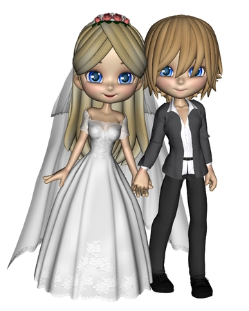 gray suit: Cute toon wedding couple, 3d digitally rendered illustration Stock Photo