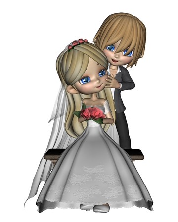 hair clip: Cute toon wedding couple, 3d digitally rendered illustration Stock Photo