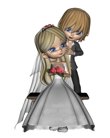 toon: Cute toon wedding couple, 3d digitally rendered illustration Stock Photo