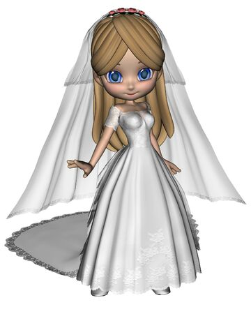 toon: Cute toon bride in a white wedding dress, 3d digitally rendered illustration Stock Photo