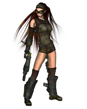 scifi: Science fiction illustration of a red-haired cyberpunk woman with two guns, 3d digitally rendered illustration