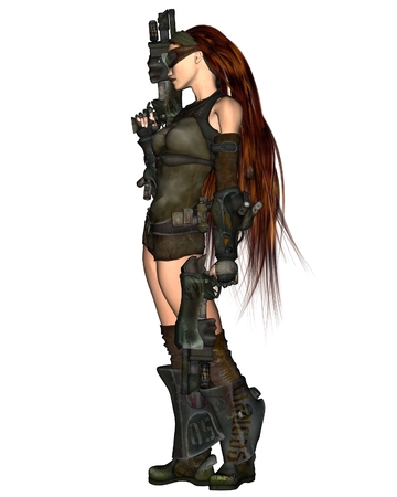 cyberpunk: Science fiction illustration of a red-haired cyberpunk woman with two guns, 3d digitally rendered illustration
