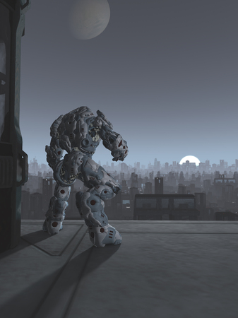 Science fiction illustration of a robot sentinel standing guard on a bridge over a future city at moon rise, 3d digitally rendered illustration
