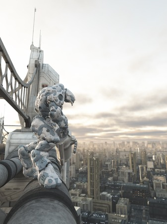fantasy fiction: Science fiction illustration of a robot sentinel standing guard on a bridge over a future city, 3d digitally rendered illustration Stock Photo