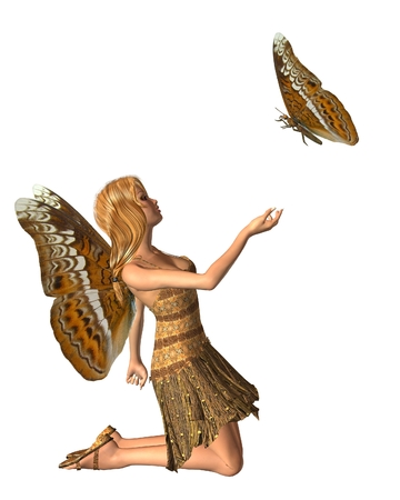 kneeling: Fantasy illustration of an admiral butterfly and fairy with Admiral butterfly wings, 3d digitally rendered illustration