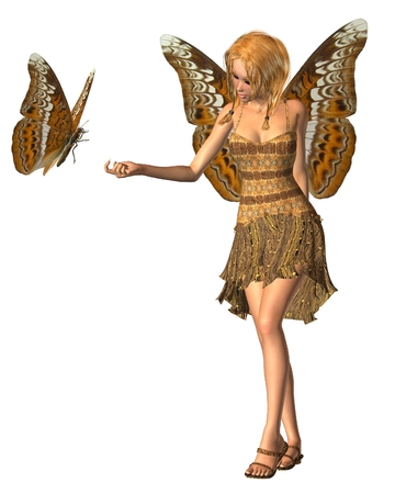 admiral: Fantasy illustration of an admiral butterfly and fairy with Admiral butterfly wings, 3d digitally rendered illustration