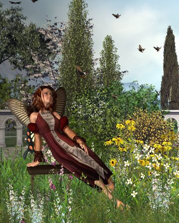 swarm: Fantasy illustration of a fairy with butterfly wings sitting in a garden watching a swarm of swallowtail butterflies, 3d digitally rendered illustration