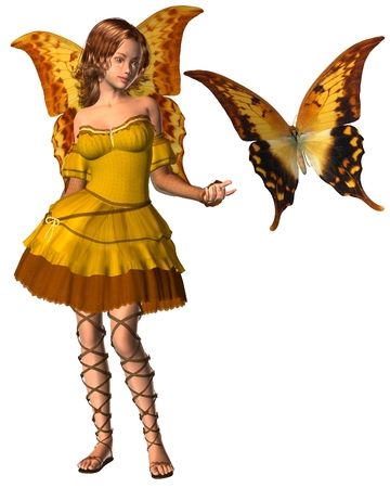 swallowtail butterfly: Fantasy illustration of a yellow swallowtail butterfly and fairy with swallowtail butterfly wings, 3d digitally rendered illustration
