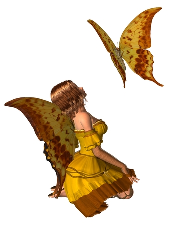 auburn: Fantasy illustration of a yellow swallowtail butterfly and fairy with swallowtail butterfly wings, 3d digitally rendered illustration