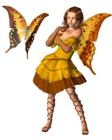 fey: Fantasy illustration of a yellow swallowtail butterfly and fairy with swallowtail butterfly wings, 3d digitally rendered illustration