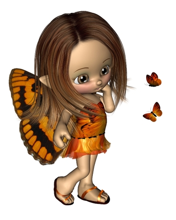 orange dress: Cute toon Butterfly Fairy with orange dress and wings, 3d digitally rendered illustration