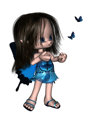 long black hair: Cute toon Butterfly Fairy with blue dress and wings, 3d digitally rendered illustration Stock Photo