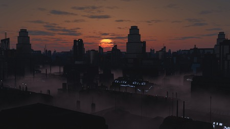 towerblock: Science fiction illustration of the streets of a future city filled with mist at sunset, 3d digitally rendered illustration