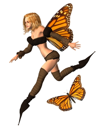 fey: Fantasy illustration of a Monarch butterfly and fairy with monarch butterfly wings, 3d digitally rendered illustration Stock Photo