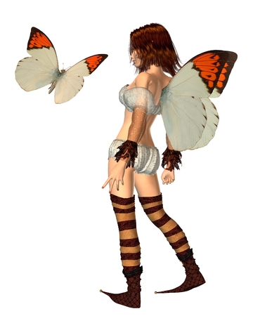 fey: Fantasy illustration of an Orange Tip butterfly fairy and butterfly, 3d digitally rendered illustration