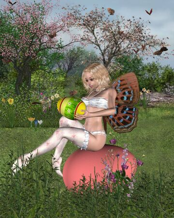 fey: Fantasy illustration of a Easter Fairy with Easter Eggs sitting in a spring garden, 3d digitally rendered illustration