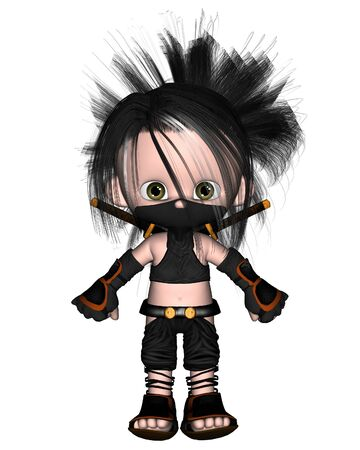 Cute toon ninja, 3d digitally rendered illustration Stock Photo