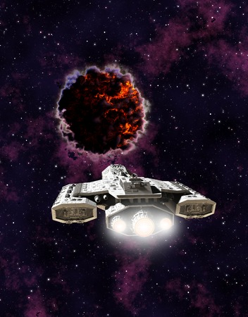 encounter: Science fiction illustration of a spaceship encountering an alien entity in outer space, 3d digitally rendered illustration Stock Photo