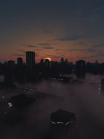 towerblock: Science fiction illustration of the streets of a future city filled with mist in a dark gloomy sunrise, 3d digitally rendered illustration