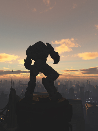 the sentinel: Science fiction illustration of a robot sentinel standing guard over a future city at sunset, 3d digitally rendered illustration