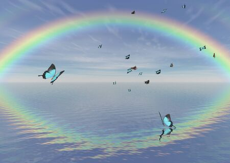 swarm: Fantasy illustration of blue peacock butterflies fluttering over the water under a bright rainbow Stock Photo