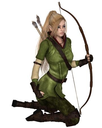 Fantasie illustratie van een blonde vrouwelijke elf schutter met pijl en boog gekleed in groen en bruin, knielen, 3d digitaal teruggegeven illustratie geïsoleerd op wit