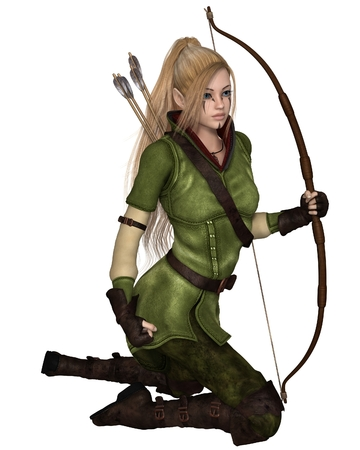 Fantasy illustration of a blonde female elf archer with bow and arrows dressed in green and brown, kneeling down, 3d digitally rendered illustration isolated on white Banco de Imagens