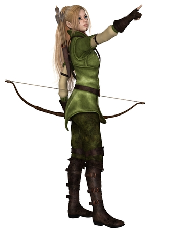 Fantasy illustration of a blonde female elf archer with bow and arrows dressed in green and brown, pointing upwards, 3d digitally rendered illustration isolated on white Stock Photo
