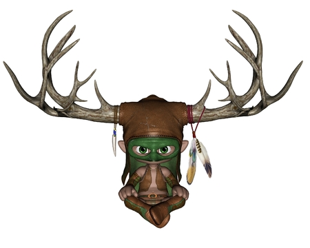 toon: Cute toon horned woodland nature god, 3d digitally rendered illustration Stock Photo