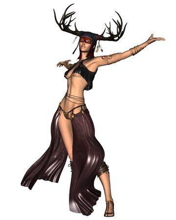 leather skirt: Fantasy illustration of an ancient Celtic Woodland Goddess with antler headdress, 3d digitally rendered illustration